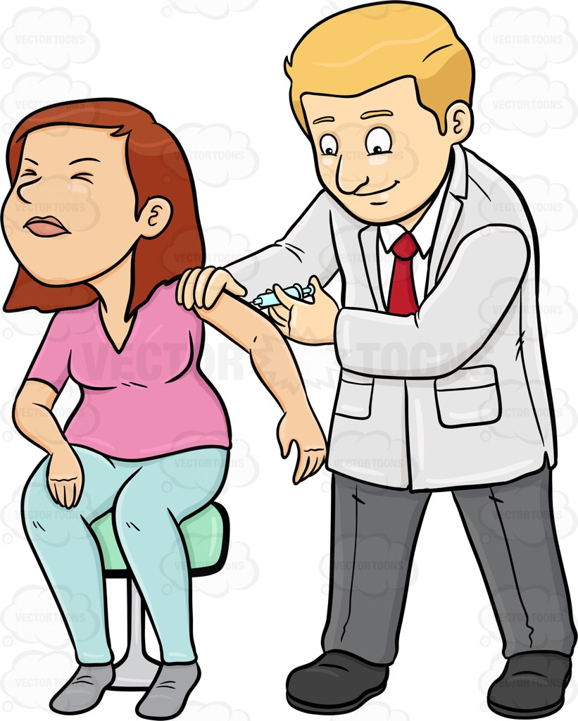 821x1024 A Doctor Injecting A Vaccine On His Female Patient Cartoon Clipart