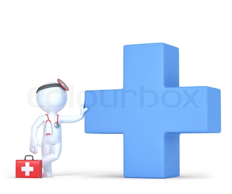 800x667 3d Doctor With Blue Medical Cross Symbol. Isolated Over White