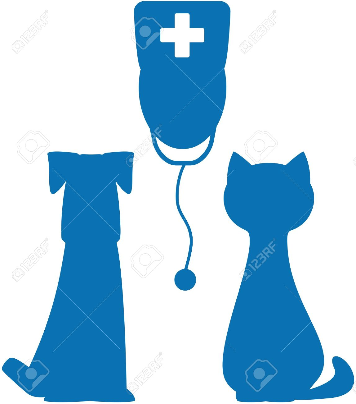 1148x1300 Blue Symbol Of Veterinary Medicine With Doctor, Dog And Cat