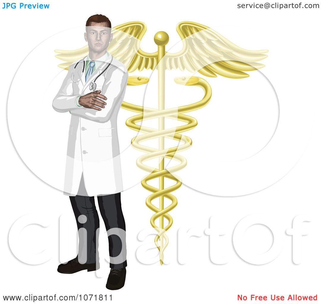 1080x1024 Clipart Male Doctor With A Golden Caduceus Symbol