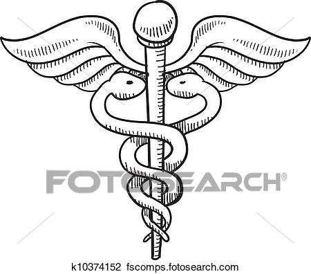 450x396 Clipart Of Caduceus Medical Symbol Sketch K10374152