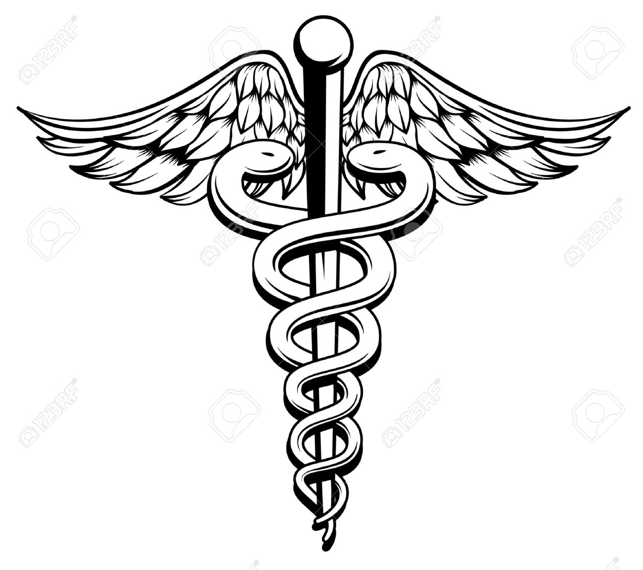 1300x1153 Medical Symbol Caduceus With Snakes And Wings Royalty Free