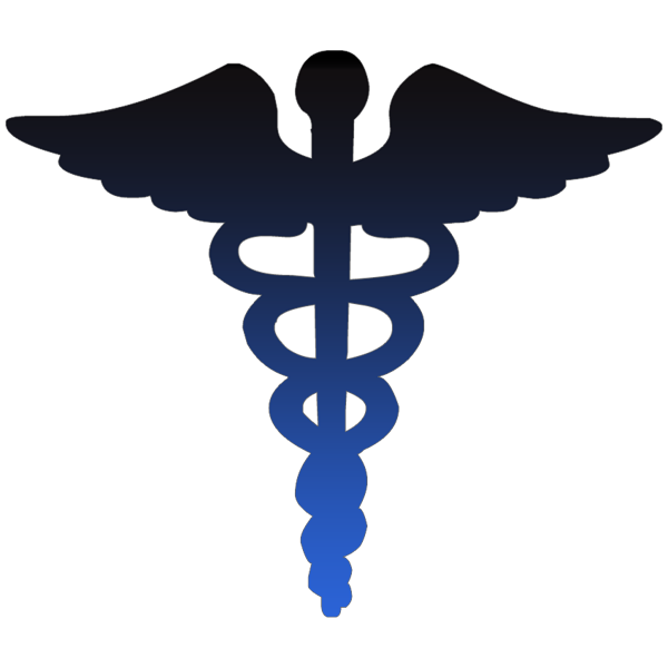 600x600 Caduceus Medical Symbol Blue Clipart Image