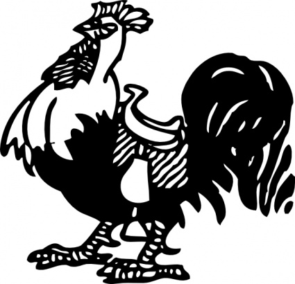 425x410 Rooster With A Saddle Clip Art Vector, Free Vector Graphics