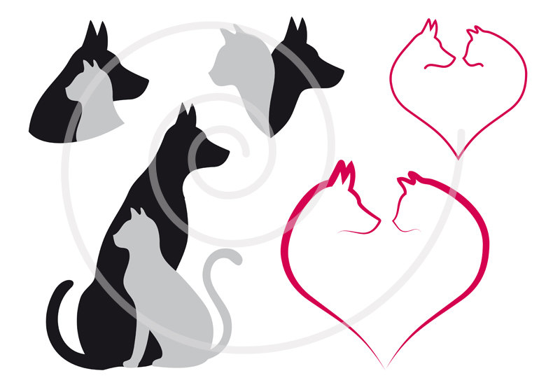 800x560 Cat And Dog Digital Clip Art Set Pet Animal Clipart Heart