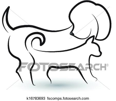450x395 Clipart Of Dog And Cat Silhouettes Logo K16783693