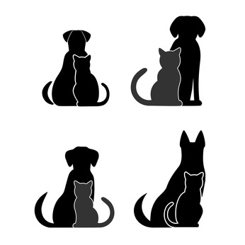 346x346 Silhouettes Of Dogs And Cats