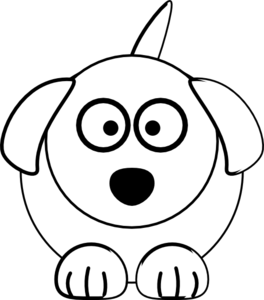 264x300 Black And White Dog Clip Art