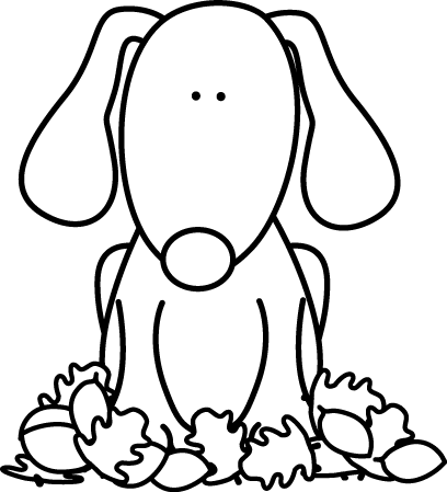 408x449 Black And White Dog Sitting In Leaves Clip Art