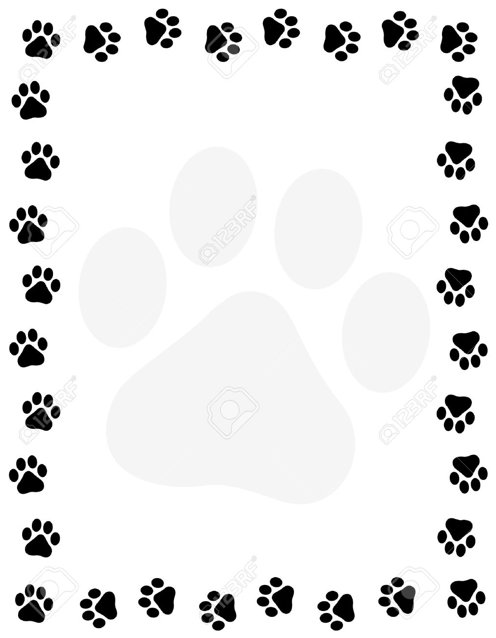 1011x1300 Dog Pawprint Border Frame On White Background Royalty Free