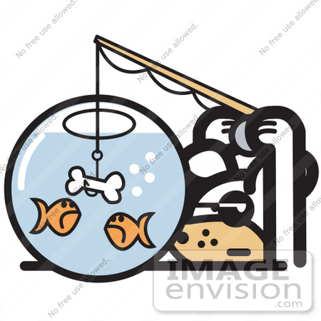 450x450 Royalty free Cartoon Clip Art of a Silly Dog Trying to Catch