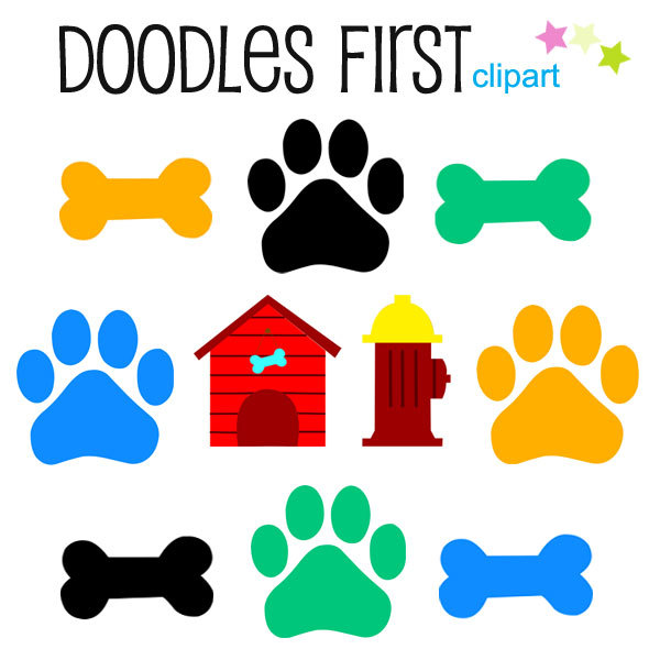 600x600 Dog Bones and Paws Digital Clip Art for Scrapbooking Card