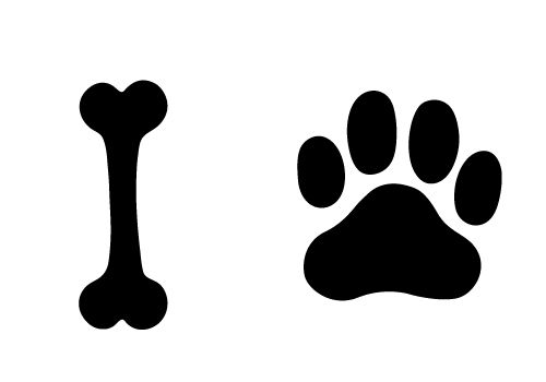 500x350 Paw Clipart Dog Bone