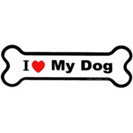265x265 I Love My Dog Bone Car Magnet ~ Pink Puppy Designs