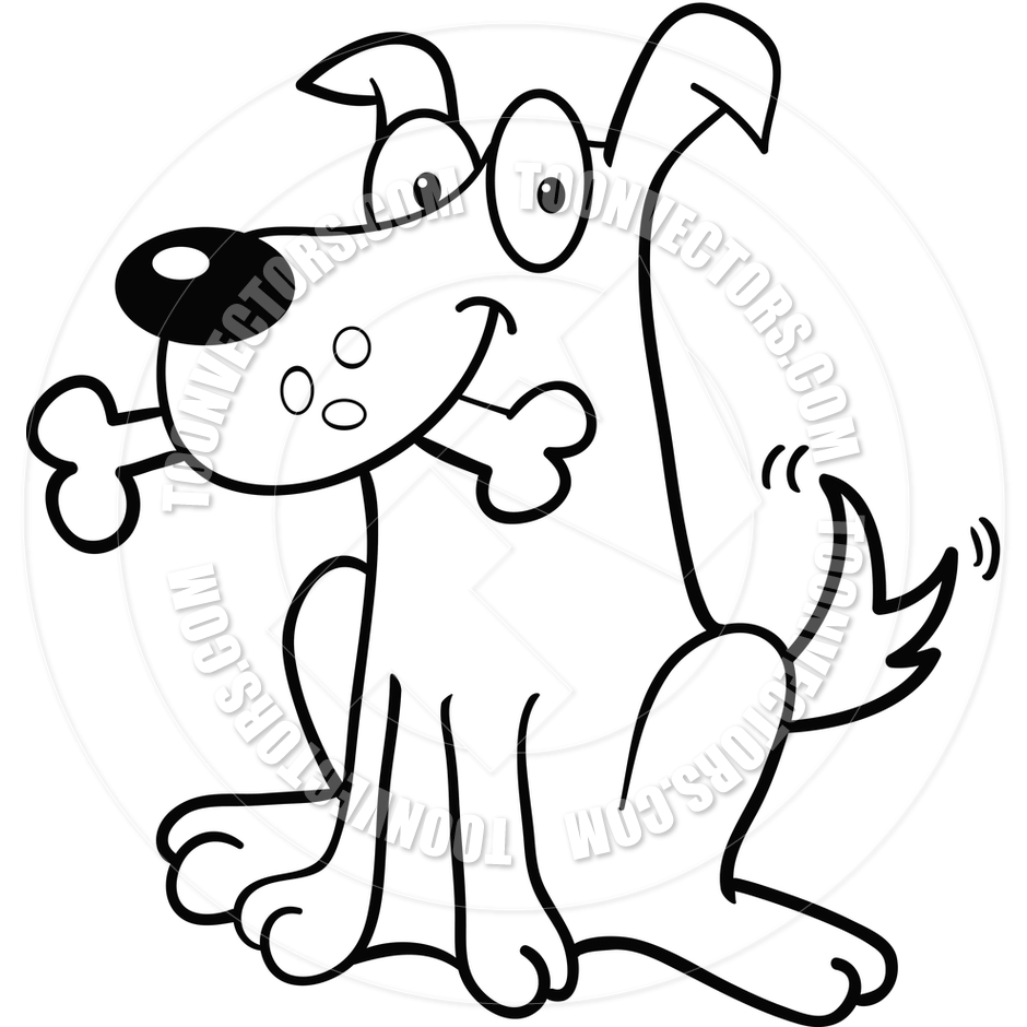 940x940 Dog Bone (Black And White Line Art) By Cory Thoman Toon Vectors