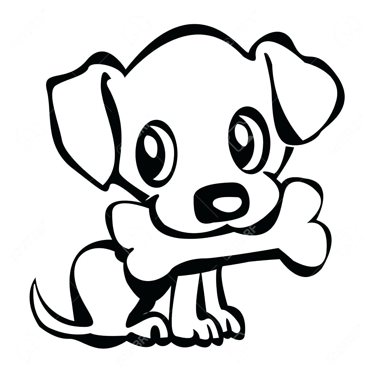 1300x1300 Coloring Page Outline Of Cute Puppy In Box Cartoon Dog With Bow