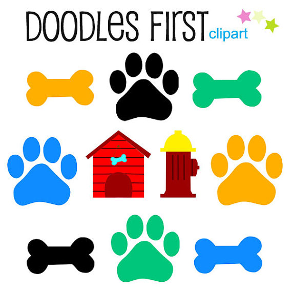 570x570 Dog Bones And Paws Digital Clip Art For Scrapbooking Card