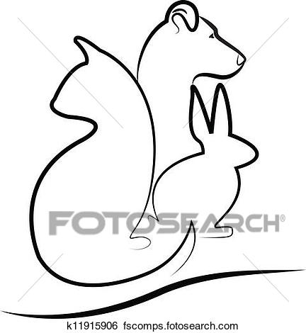 432x470 Clip Art Of Cat, Dog And Bunny Silhouette Logo K11915906
