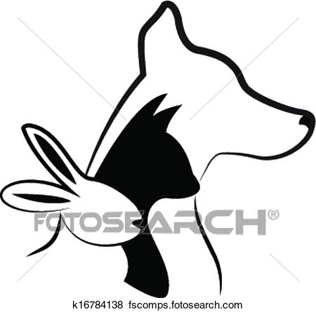 450x445 Clip Art Of Cat Dog And Rabbit Silhouettes Logo K16784138