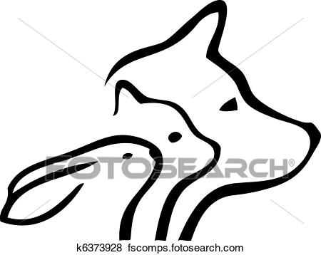 450x358 Clip Art Of Dog And Cat Heads K6373928