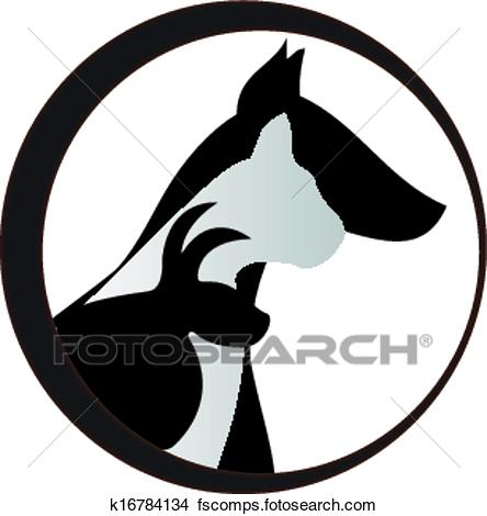 444x470 Clipart Of Dog Cat And Rabbit Logo K16784134
