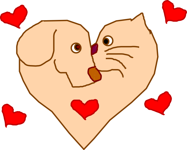 600x482 Dog And Cat Heart Clip Art