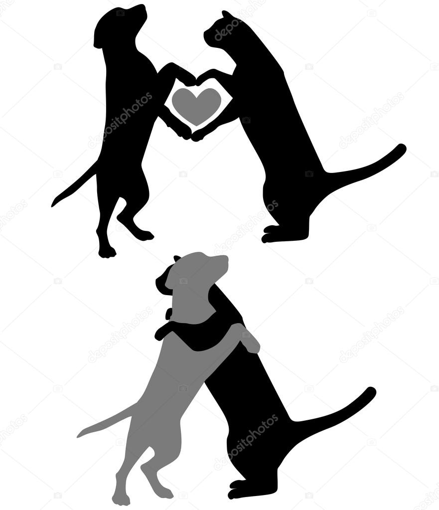 881x1023 Cat And Dog Silhouette Stock Vector Gleighly
