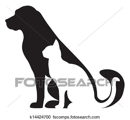 450x415 Clipart Of Dog And Cat Silhouettes Composition K14424700