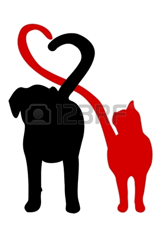 318x450 Dog And Cat Silhouette Making A Heart In The Tail Royalty Free