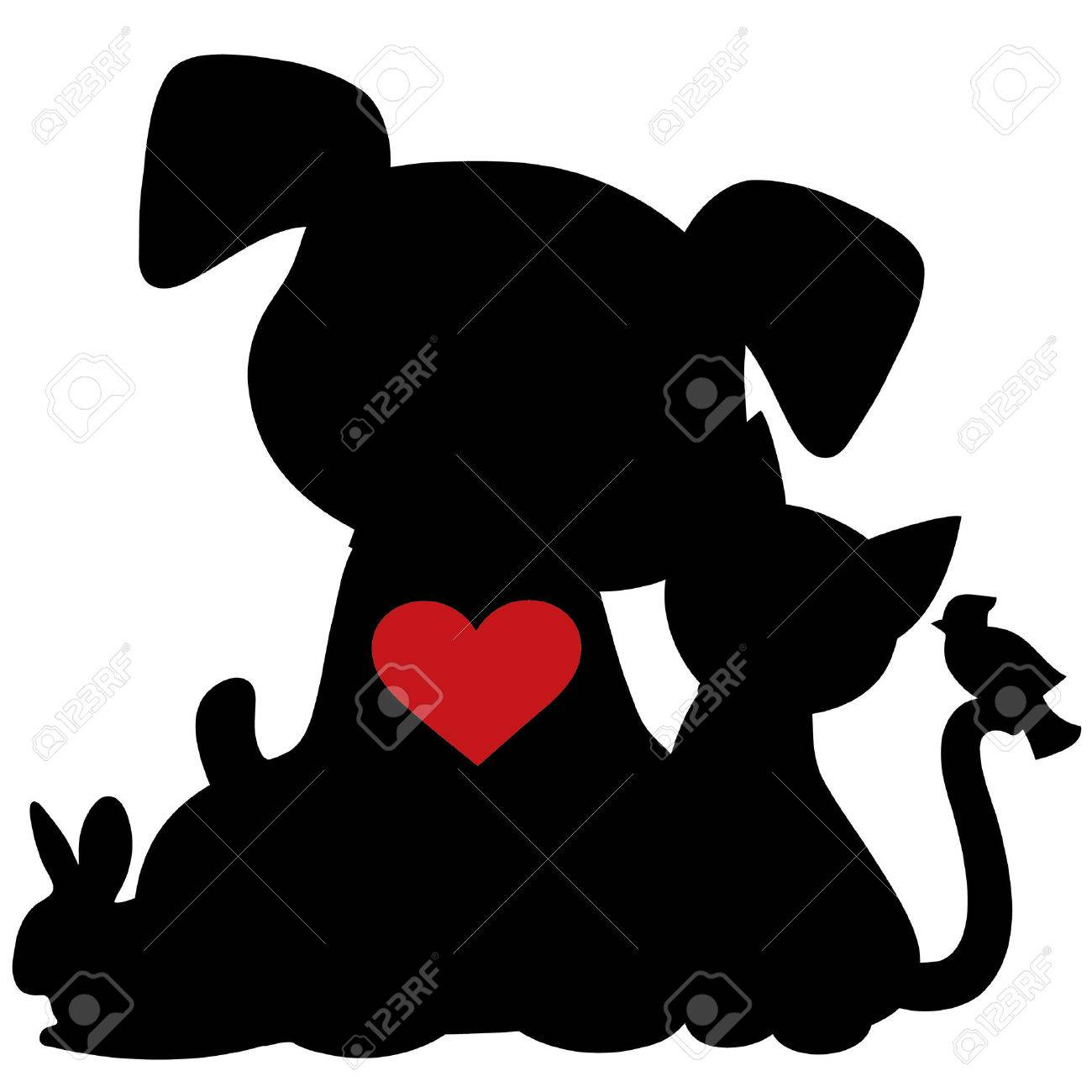 1300x1300 Dog Cat Silhouette Stock Photos. Royalty Free Dog Cat Silhouette