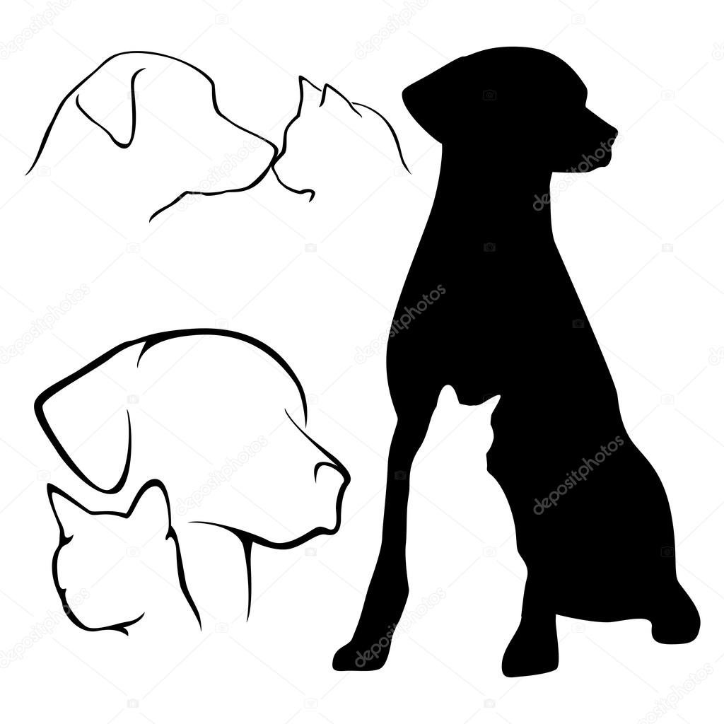 1024x1024 Dog And Cat Silhouette Stock Vector Gleighly