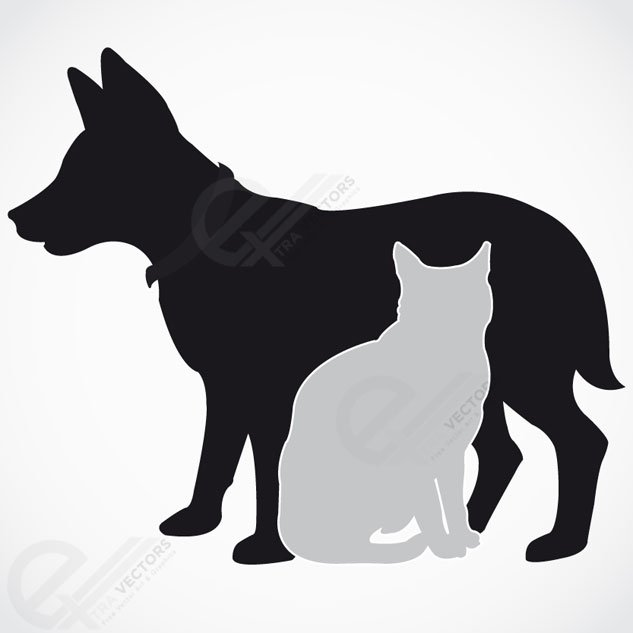 633x633 Dog And Cat Silhouette. Free Vector Download, Vector Files