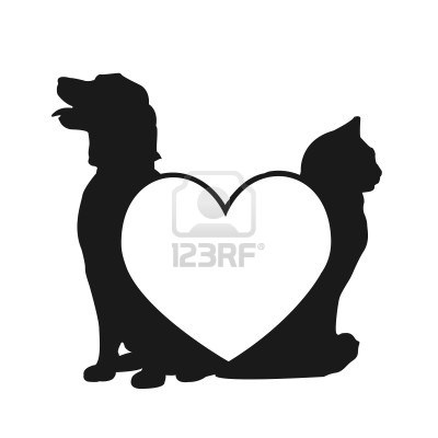 400x400 Dog And Cat Love Silhouette Dogcatetc Silhouettes
