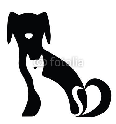 374x400 Funny Dog And Cat Silhouettes Composition Freestyle