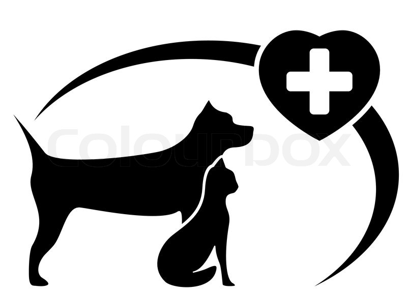 800x576 Black Veterinary Symbol With Dog And Cat Silhouette Stock Vector
