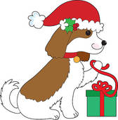168x170 Dog Christmas Clip Art Stock Illustrations
