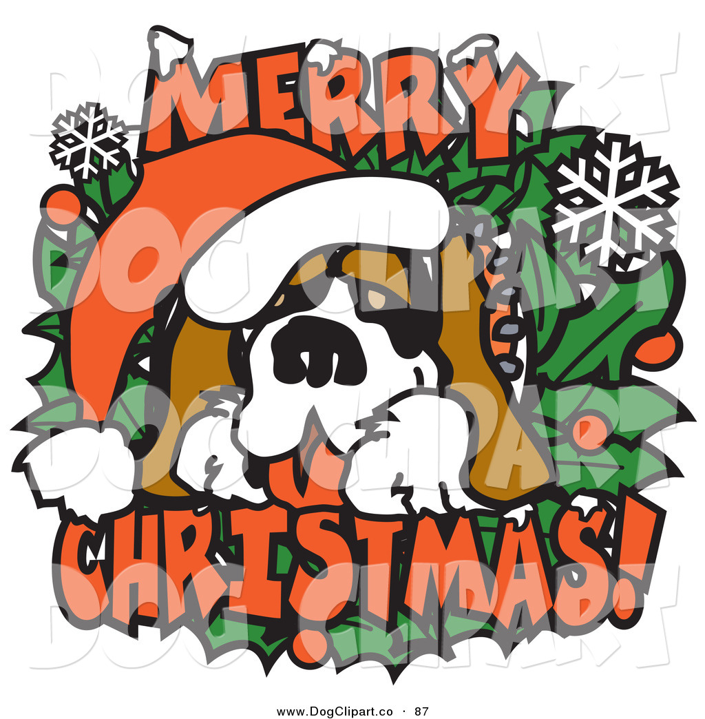 1024x1044 Vector Clip Art Of A Big Saint Bernard On A Merry Christmas Sign
