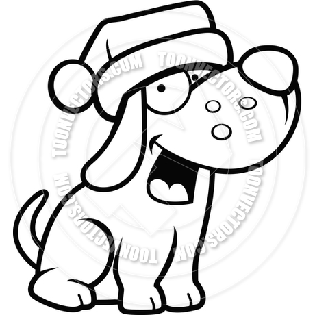460x460 Cartoon Puppy Dog Christmas (Black And White Line Art) By Cory