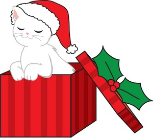300x270 Christmas Cat Clipart