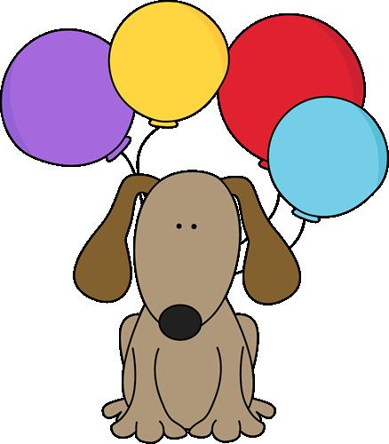 438x500 Dog With Balloons Postacie Do Opisania Clip Art