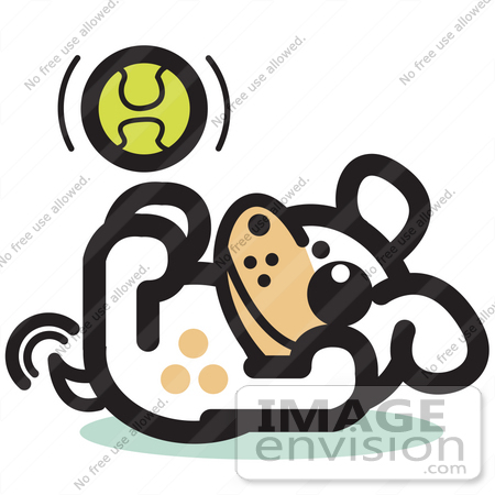 450x450 Royalty Free Cartoon Cliprt Of Playful Dog Playing