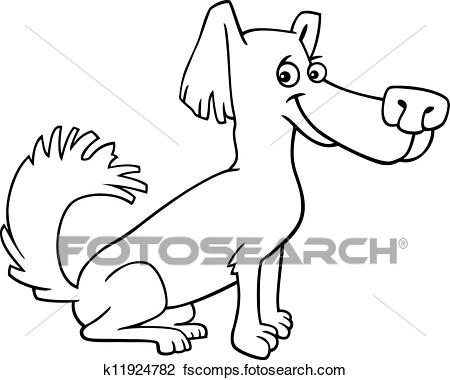 450x380 Clipart Of Little Shaggy Dog Cartoon For Coloring Book K11924782