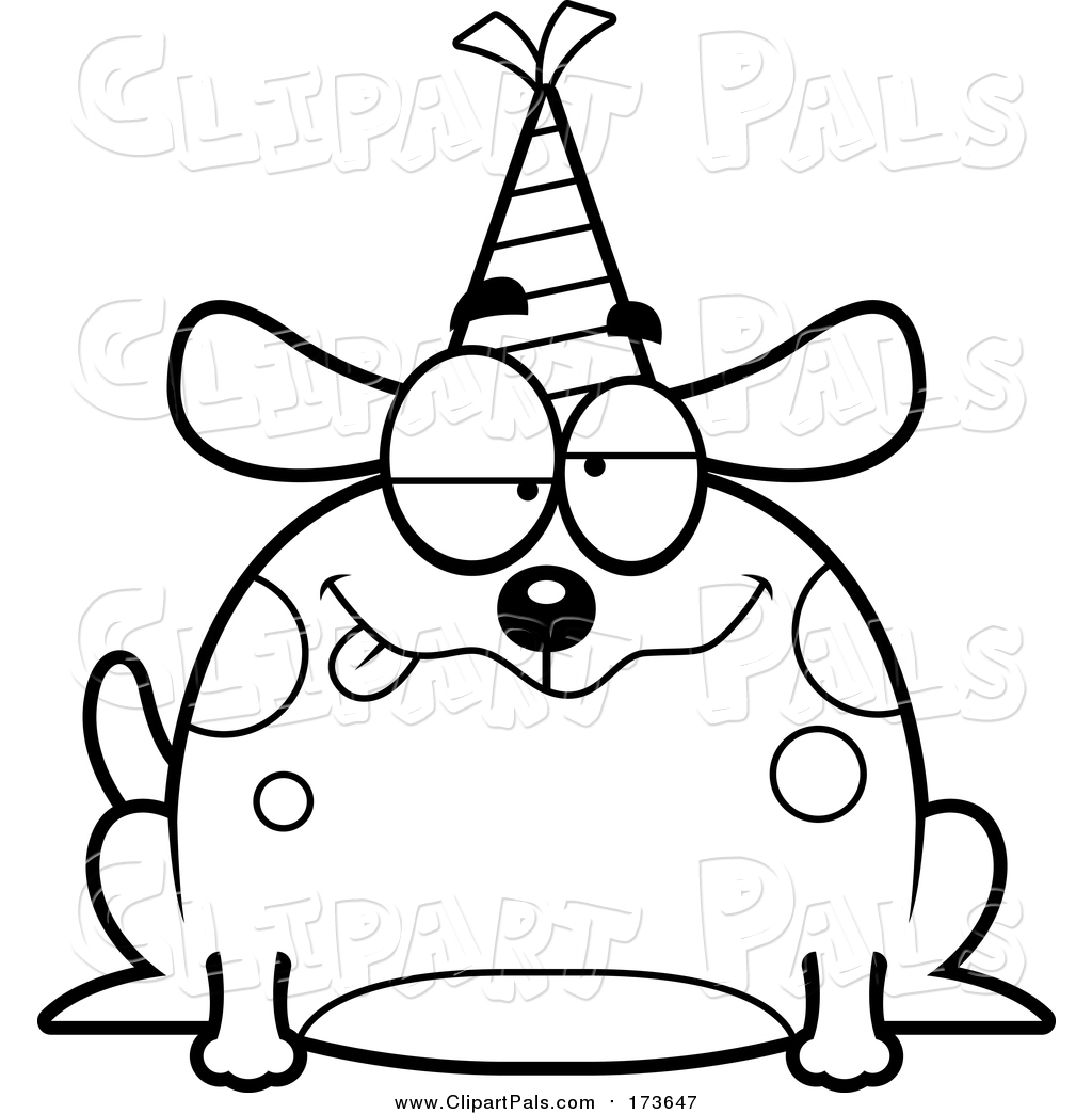 1024x1044 Pal Clipart Of A Lineart Drunk Birthday Dog Wearing A Party Hat By