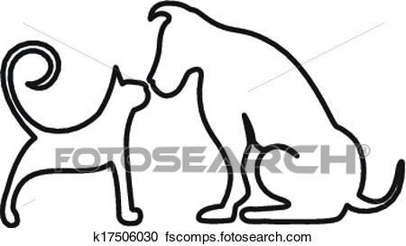 450x273 Clipart Of Dog And Cat Kissing Logo K17506030