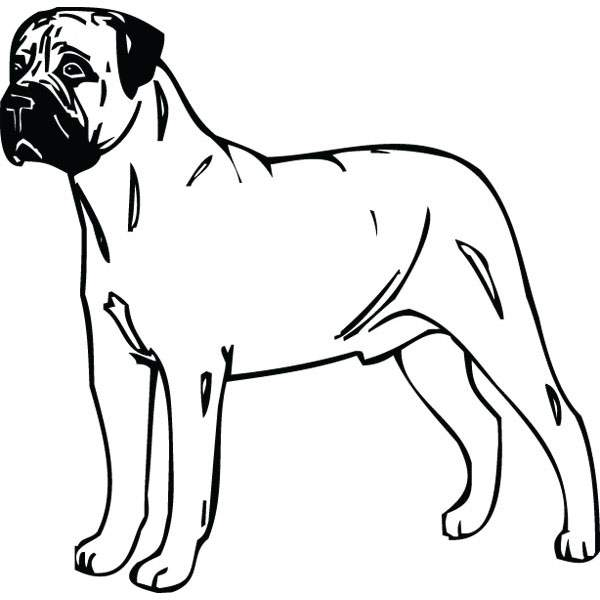 600x600 Bull Mastiff Working Dog Clip Art For Custom Pet Lover Gifts