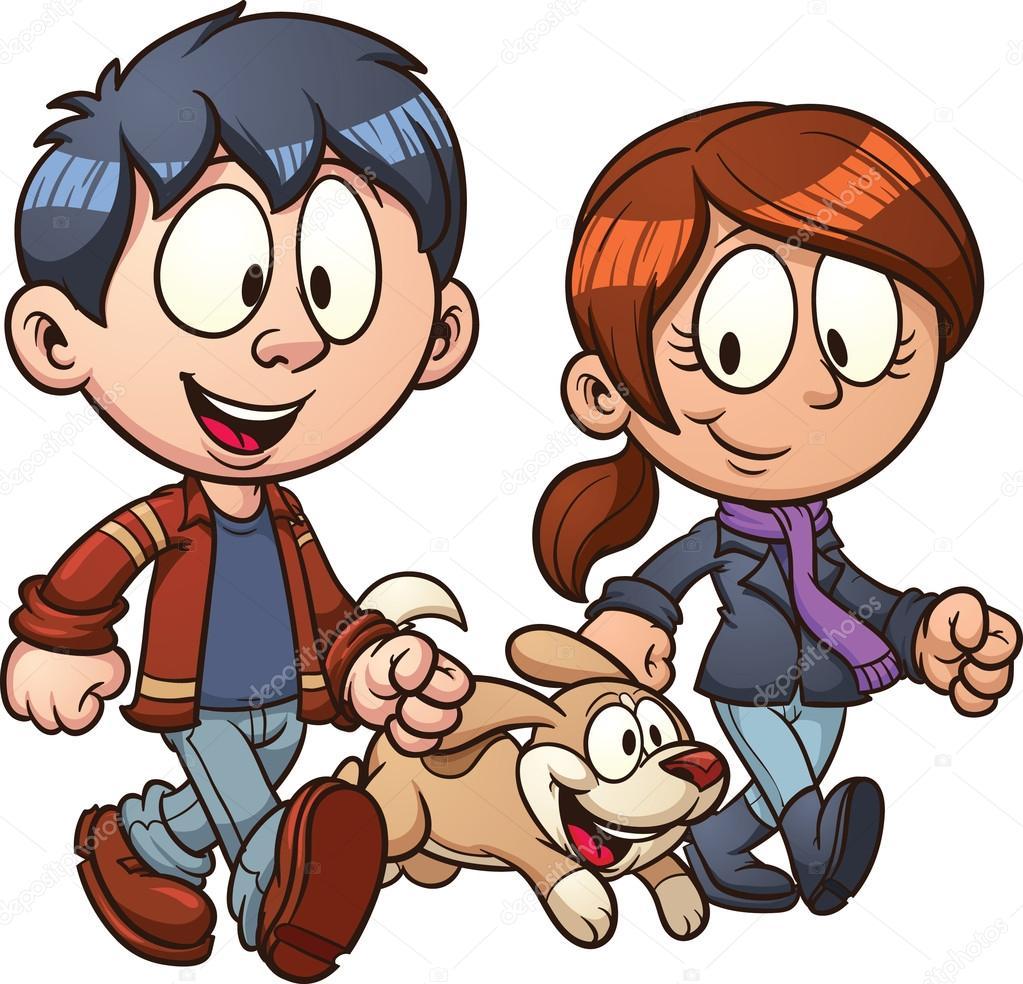 1023x984 Couple Walking Dog Stock Vector Memoangeles