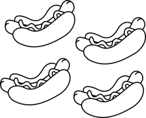 300x243 Free Black And White Hot Dog Clipart