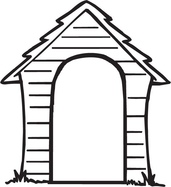 600x656 Black And White Puppy Dog House Clipart, Free Black And White
