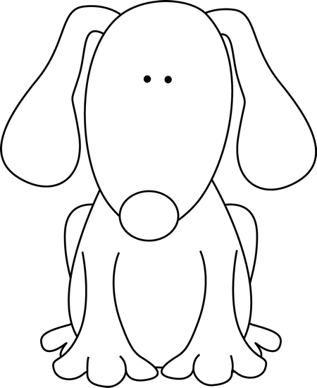 450x550 Black And White Dog For D Clip Art