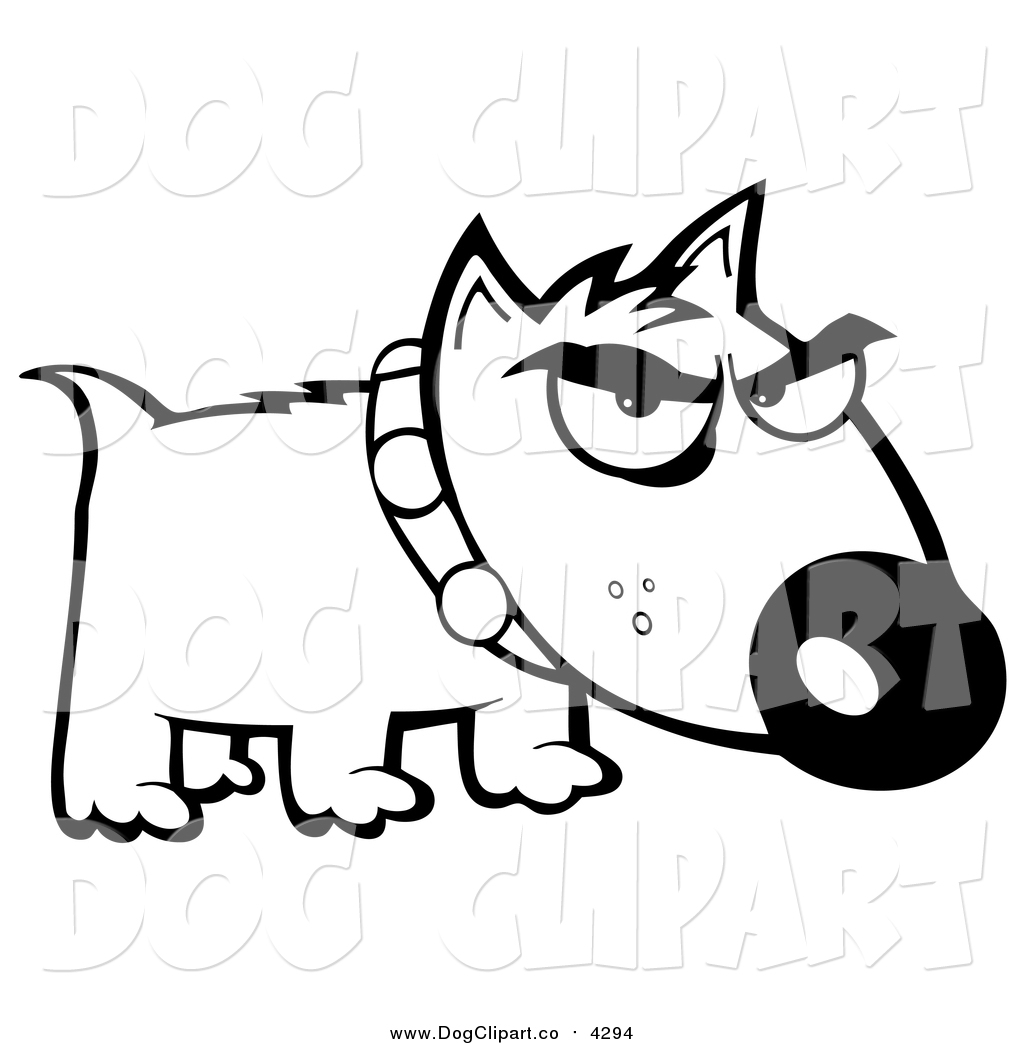 1024x1044 Vector Cartoon Clip Art Of A Black And White Bull Terrier Dog By